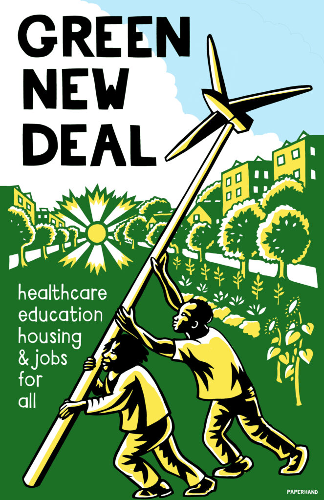 Seattle for a Green New Deal Poster: Healthcare, Education, Housing, and Jobs for All