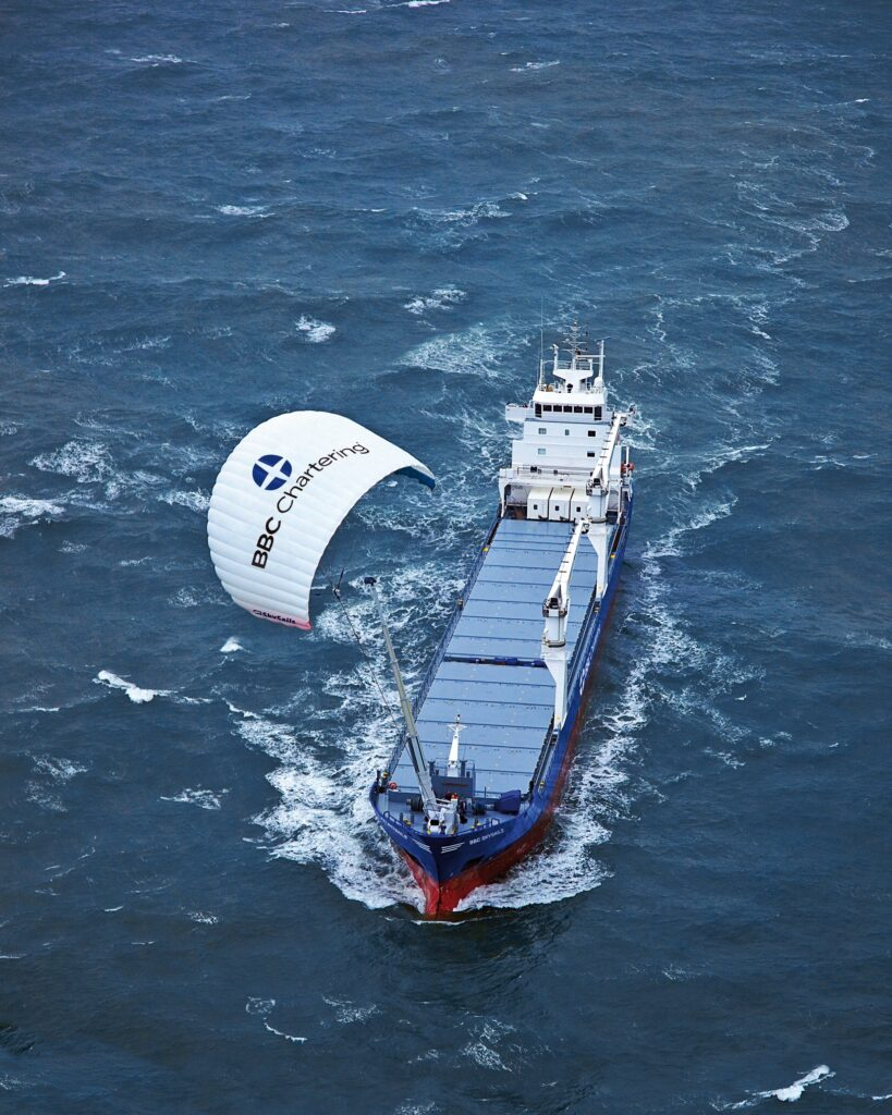 photo of cruise ship using wind power