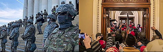 National Guard at the Capitol versus White Rioters Running Amok
