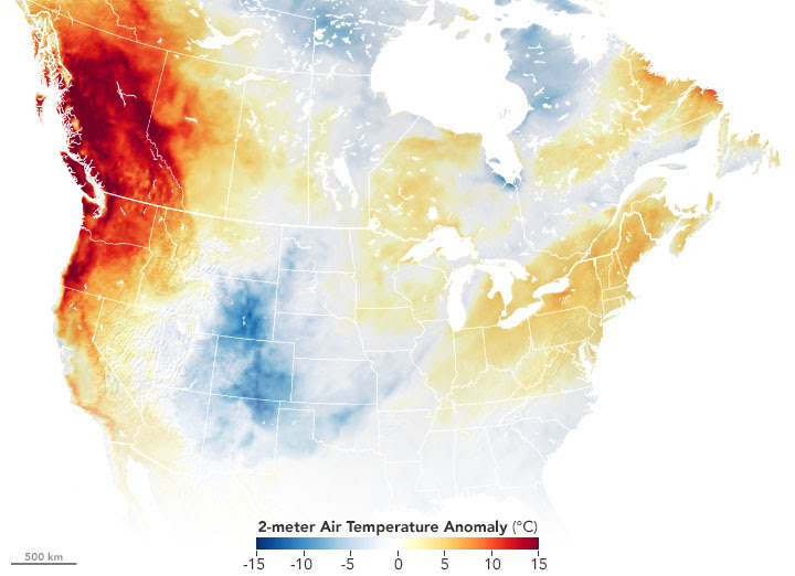 Map of North America showing the extreme heat wave of June 2021